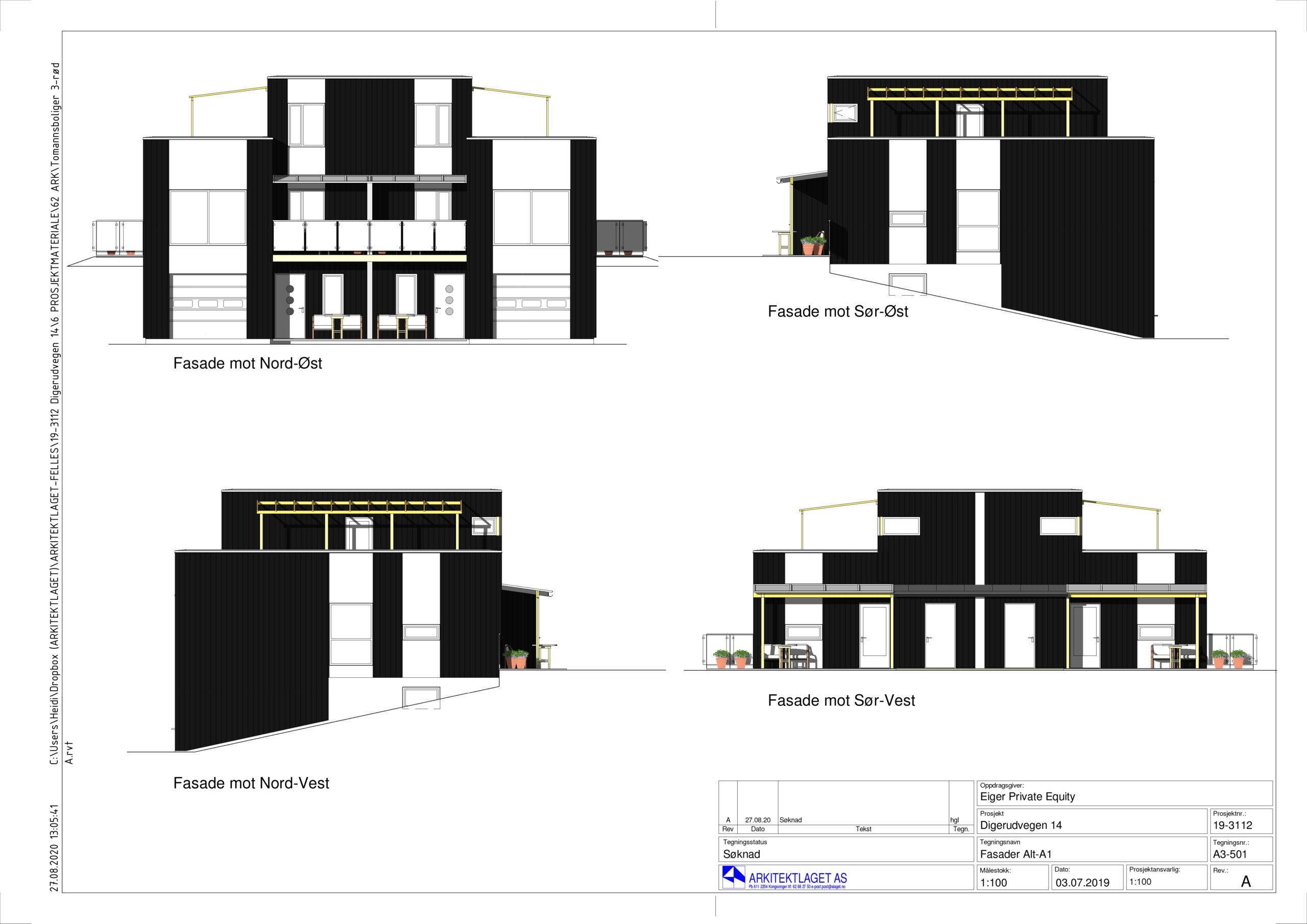 Fasadetegninger Digerudvegen