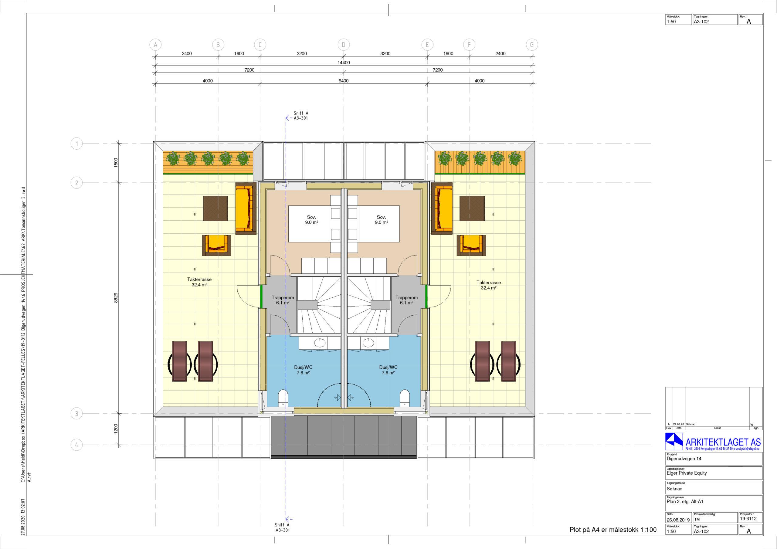 Plantegning av Digerudvegen plan2 toppetasje m takterrasse